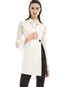 Ericdress White Lapel One Button Vest