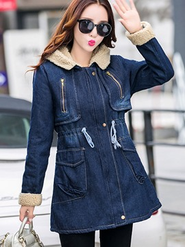 Ericdress Color Block Fleece Slim Denim Outerwear