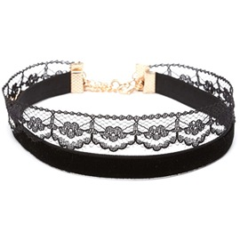 Ericdress Double Layers Velvet & Lace Choker Necklace