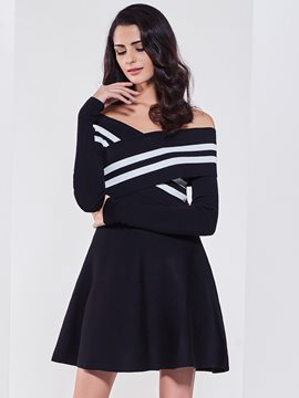 Ericdress Plain Pullover Slash Neck Sweater Dress