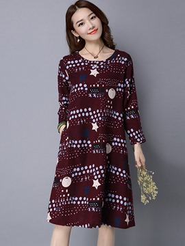 Ericdress Round Collar Pullover Print Loose Pocket Casual Dress