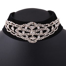 Ericdress Rhinestone Decorates Black Velvet Choker Necklace