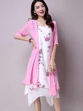 Ericdress Floral Print Asymmetric Pleated Wrapped Trench Coat Dress Suit