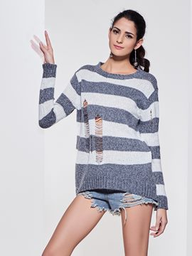 Kinikiss Stripped Hollow Casual Knitwear