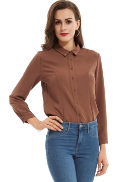Ericdress Plain Slim Lapel Single-Breasted Blouse