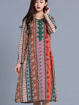 Ericdress Ethnic Round Collar Single-Breasted Print Loose Maxi Dress