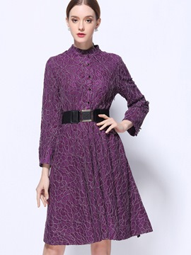 EricdressStand Collar Single-Breasted Hollow Belt Pleated Lace Dress