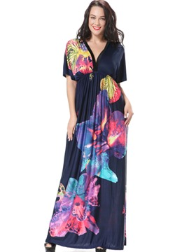 Ericdress Back V-Neck Print Pleated Maxi Dress