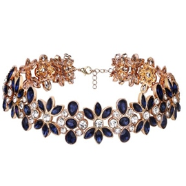 Ericdress All-Matched Rhinestone Flowers Choker Necklace