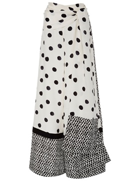 Ericdress Polka Dots Lace-Up Wide Legs Pants