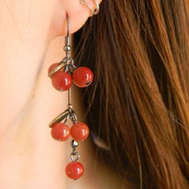 Ericdress Lovely Cherry Beads Pendant Earrings
