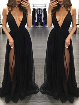 Ericdress Sexy Deep V-Neck A-Line Split-Front Floor-Length Evening Dress