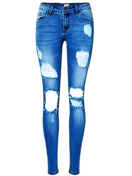 Ericdress Low-Waist Holes Washable Skinny Jeans