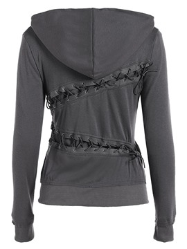 Ericdress Solid Color Lace-Up Slim Hoodie