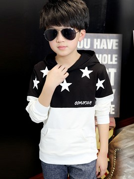 Ericdress Hooded Star Color Block Boys T-Shirt