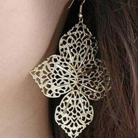 Ericdress Leaves Design Hollow-Out Pendant Earrings