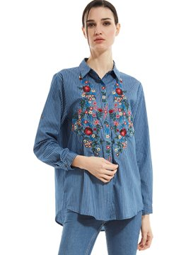 Ericdress Lapel Hidden Button Floral Embroideried Stripe Shirt