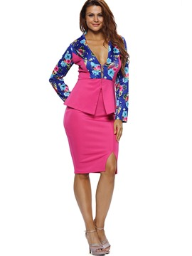 Ericdress Asymmetric Print V-Neck Long Sleeve Skirt Suit
