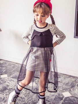 Ericdress Stripe Mesh Pathcwork Girls Dress