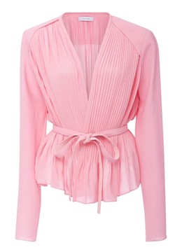 Ericdress Pink Lace Up Deep V-Neck Blouse