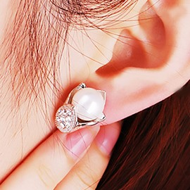 Ericdress Diamante Lily with Pearl Stud Earrings