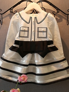 Ericdress Stripe Bow Long Sleeve Girls Dress