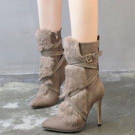 Ericdress Luxurious Fur Buckles Point Toe High Heel Boots
