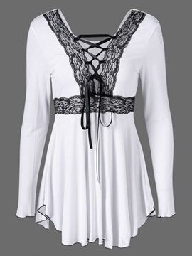 Ericdress Cross Strap Lace Trim Pelplum T-Shirt