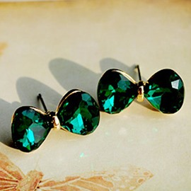 Ericdress Green Crystal Bowknot Stud Earrings