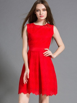 Ericdress Christmas Embossing Sleeveless Pleated Casual Dress
