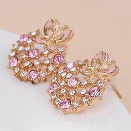 Ericdress Pink Butterfly Rhinestone Inlaid Stud Earrings