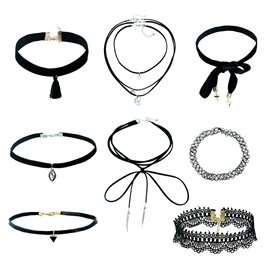 Ericdress Gothic Black Velvet 8 Pieces Choker Necklace