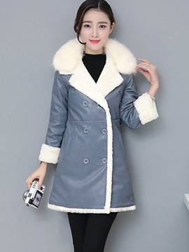 Ericdress Color Block Double-Breasted Slim Thick Coat