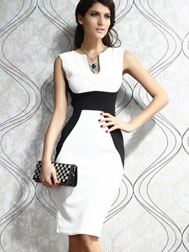 Ericdress Color Block Patchwork Sleeveless Knee-Length Sheath Dress