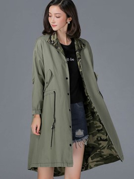 Ericdress Loose Single-Breasted Casual Trench Coat