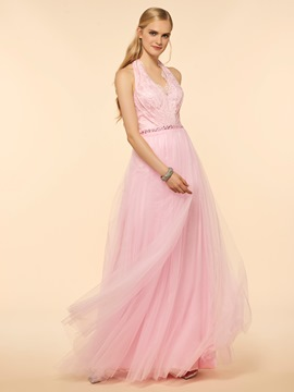 Ericdress Halter Lace A Line Bridesmaid Dress