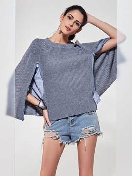Kinikiss Split Sleeve Caped Knitwear