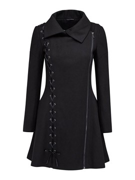 Ericdress Solid Color Lace-Up Polo Slim Coat