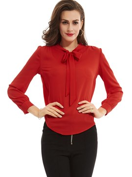 Ericdress Plain Bowknot Lantern Sleeves Blouse