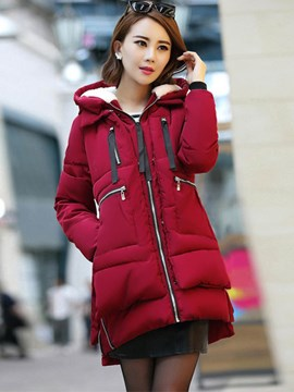 Ericdress Straight Solid Color Zipper Casual Coat