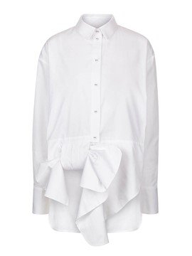 Ericdress White Single-Breasted Falbala Trim Blouse
