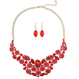 Ericdress Charming Red Crystal Flowers Jewelry Set