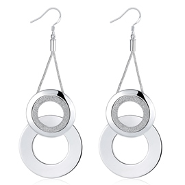 Ericdress Double Circle Design Plated Pendant Earrings