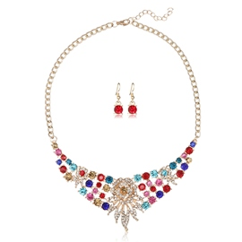 Ericdress Colorful Rhinestone Flower Two Pieces Jewelry Set