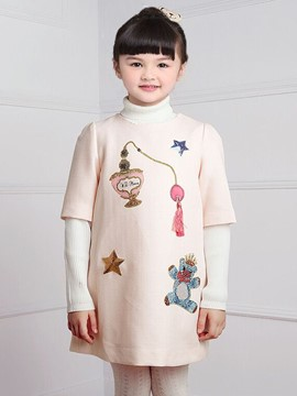 Ericdress Sequins Pattern Half Sleeve Girls Dress