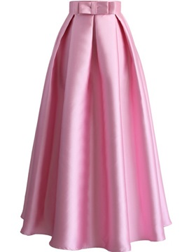 Ericdress Solid Color Pleated Bowknot Expansion Skirt