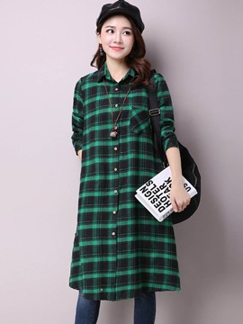 Ericdress Plaid Loose Long Blouse