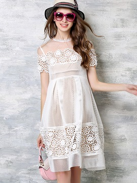Ericdress Mesh Hollow Floral Patchwork Pleated Casual Dress
