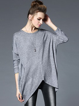 Ericdress Gray Batwing Sleeve Irregular Knitwear