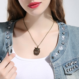 Ericdress Hollow-Out Owl Pendant Necklace